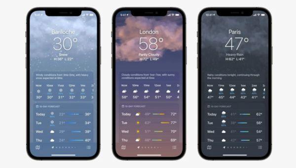 Новый вид приложения Погода